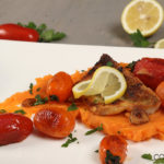 Zanderfilet mit Süßkartoffelpüree und Tomaten