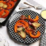 Kürbis-Ofengemüse mit Birnen und Speck